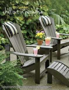 Chill out in paradise and put your feet up in these #adirondak  #muskoka chairs and #ottoman.