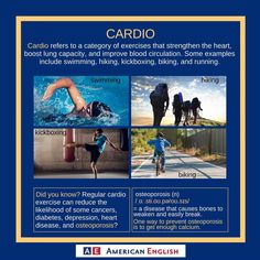 Cardio training differs from core strength training in that it involves high-intensity exercises that stimulate the cardiovascular system—your lungs, heart, and associated blood vessels.   Do you enjoy doing cardio? Why or why not? #LiveWell #ExerciseVocabulary