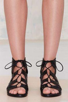 Flat Leather Gladiator Sandal