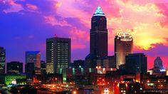 cleveland ohio city business buildings area wallpaper night scene high…