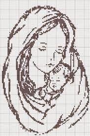 schema punto croce madonne monocolore   Hobby lavori femminili - ricamo - uncinetto - maglia