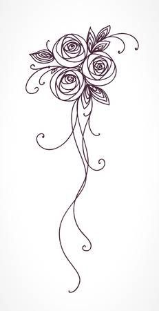 Roses Stylized Flower Bouquet Hand Drawing Flower Pattern Design Hand Embroidery Designs How To Draw Hands