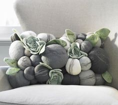 felted rock pillow
