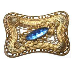 Garland Collection - Czech blue stone brooch