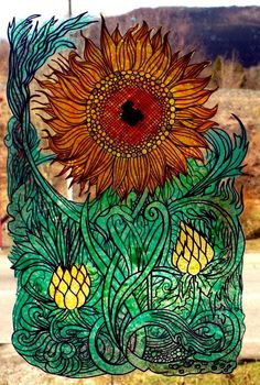 WICOART WINDOW COLOR STICKER STATIC CLING STAINED GLASS ART TOURNESOL ART DECO