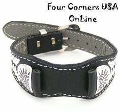 Four Corners USA Online - Men's Sterling Leather Watch Strap Native American Indian Navajo Jewelry NAW-1414, $87.00 (http://stores.fourcornersusaonline.com/mens-sterling-leather-watch-strap-native-american-indian-navajo-jewelry-naw-1414/)