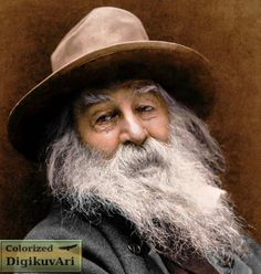 """Walter """"Walt"""" Whitman (1819 -1892)  This image was made in 1887 in New York, by photographer George C. Cox.  color, colorized, colorization"""