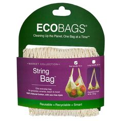 ECOBAGS, Market Collection, String Bag, Tote Handle 10 in, Natural, 1 Bag - iHerb.com