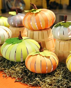 paper pumpkin craft. I do these as thankful pumpkins at thanksgiving too!!!! They write on each slip what they are thankful for that year and give to their parents as gifts! =)
