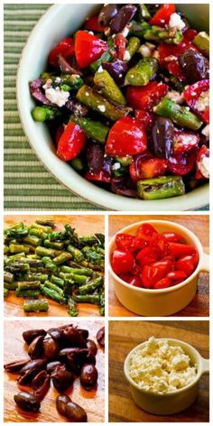 Salad with Asparagus, Cherry Tomatoes, Kalamata Olives, and Feta (Low-Carb, Gluten-Free) [from KalynsKitchen.com]