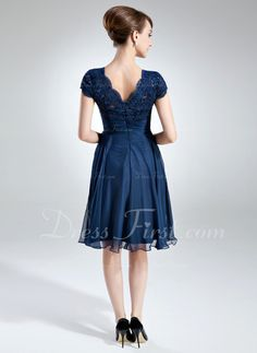 A-Line/Princess Square Neckline Knee-Length Chiffon Lace Mother of the Bride Dress With Ruffle Bow(s) (008006166) - DressFirst