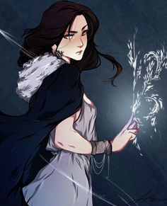 Khione, the ice goddess.  Skadi's got some competition with great hair!