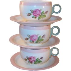 SET of 3: 1940's Homer Laughlin Swing Moss Rose Cups & Saucers from ruthsredemptions on Ruby Lane