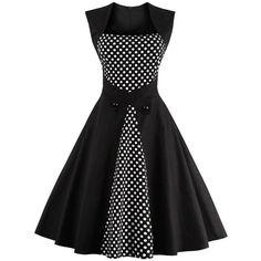 Retro Polka Dot Square Neck Swing Dress ($20) ❤ liked on Polyvore featuring dresses, trapeze dress, retro swing dresses, spotted dress, retro dresses and tent dresses