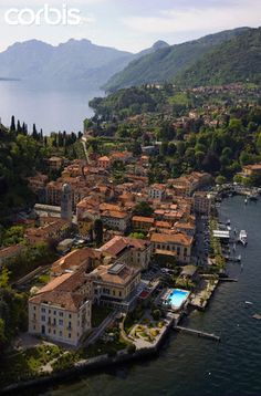 Aerial view of Bellagio on Lake Como, Italy