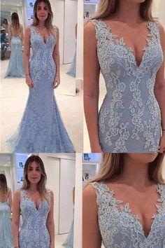 Prom Dresses, Light Blue Long Evening Dresses,Lace Blue Long Mermaid Prom Dress, #promdresses #eveningdresses #lacedresses #longpromdresses