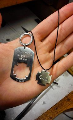 ' He carries a piece of her, she carries a piece of him ' 'Custom Couples Matching Set', crafted out of sterling silver Matching Couples, Matching Set, Custom Jewelry, Dog Tags, Dog Tag Necklace, Custom Design, Personalized Items, Sterling Silver, Crafts