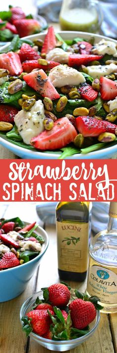 This Strawberry Spinach Salad is an AMAZING twist on a summer classic! Loaded with fresh strawberries, goat cheese, pistachios, and a delicious honey balsamic vinaigrette....this salad is sure to become your new favorite go-to for picnics, cookouts, and everyday meals!