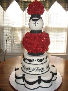 black and red wedding cake Cheesecake Etc.