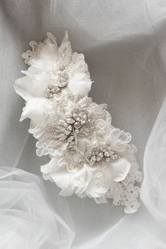 Tasteful Textures   A bespoke ivory beaded lace headpiece for Jenna