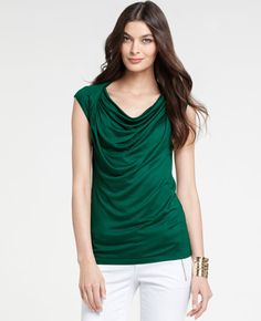 {versatile top}  love the deep jewel color! ann taylor - draped short sleeve top in foliage