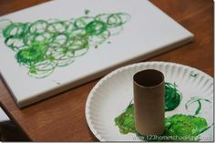 toilet paper painting craft for kids - Christmas