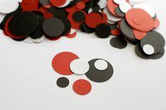 Modern Red and Black Circle Confetti Lady Bug Colors PassTheScissorsShop    passthescissors.com