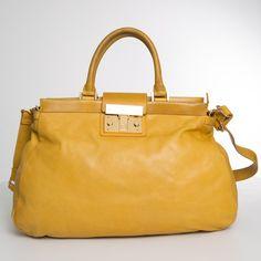 Tory Burch Norah Yellow Satchel Mustard Cross Body Bag-0869