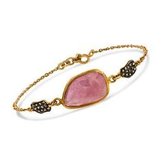 9.50 Carat Pink Sapphire Slice Bracelet With Diamonds In Sterling Silver