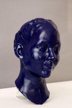 Self portrait, clay and glaze Blue Art, Glaze, Sculpture, Statue, Portrait, Color, Enamel, Blue Artwork, Headshot Photography