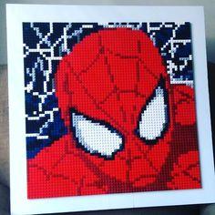 Spider-man Lego mosaic by brickablocks.com.  8000 Lego studs.  24x24 inches.  Built with dark blue  dark red red dark grey light grey black and white Lego plates.  #Lego #afol #legoart #mosaic #mosaics #legos  #legostagram #artwithlegobricks #firsttry #spidey #spiderman #underoos #teamironman by brickablocks