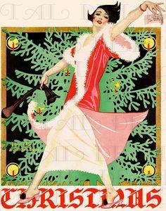Life magazine Christmas Cover by Coles Phillips, Dec ~ Art Deco Vintage Christmas Cards, Retro Christmas, Vintage Holiday, Vintage Cards, Christmas Girls, Vintage Winter, Christmas Fashion, Christmas Jewelry, Vintage Santas