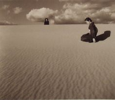 my wife in the dunes IV - 1950 by Shoji Ueda - Japan Magritte, Japanese Photography, Art Photography, Night Pictures, Grain Of Sand, The Dunes, Japanese Artists, Photomontage, Black And White Photography