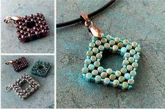 Matubo Rulla Square Pendant Matubo Beads Seed Beads Jewelry Making Beaded Pendant