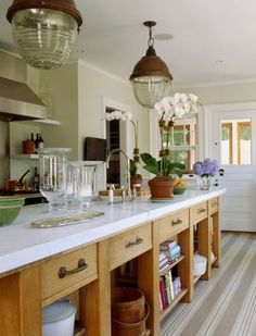 Great marble topped kitchen island.