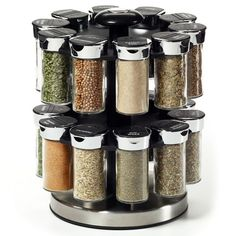 Pictures Are For Reference ONLY ! Kamenstein 20 Jar Rotating Spice Rack Features Sift And Pour Caps Each Jar Of Premium-Quality Spices Is Rotating Spice Rack, Spice Rack Storage, Revolving Spice Rack, Wooden Spice Rack, Spice Rack Gift, Spice Organization, Spice Rack Carousel, Best Spice Rack, Messy Kitchen