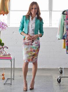 teal blazer, blouse, floral skirt, heels