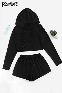 Shop Drop Shoulder Drawstring Top With Shorts online. ROMWE offers Drop Shoulder Drawstring Top With Shorts & more to fit your fashionable needs. Cute Lazy Outfits, Sporty Outfits, Swag Outfits, Stylish Outfits, Cute Outfits With Shorts, Summer Outfits, Girls Fashion Clothes, Teen Fashion Outfits, Outfits For Teens