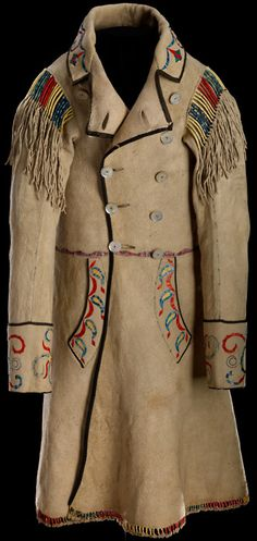 man's coatCree Métis Coat c. 1874; Red River; Hide, mother of pearl buttons, silk ribbon, porcupine quill, dyes; metis clothing