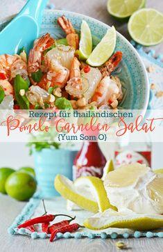 "Sunny Thai salad recipe for pomelo shrimp salad ""Yum Som O"" - for a bit of wanderlust in the bowl Thai Recipes, Salad Recipes, Healthy Recipes, Healthy Food, Pomelo Salad, Asia Food, Thai Salads, Shrimp Salad, Veggies"