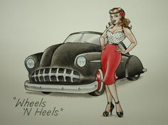 Would make a cool photo... Wheels N Heels - Pinup Girl With Hotrod Painting