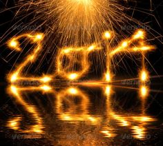 Happy New Year 2014 glowing numbers
