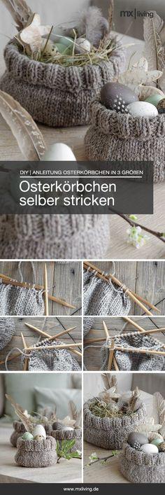 DIY | selbst gestrickte Osterkörbchen #osterdekoration #Selbermachen #diy #strickidee