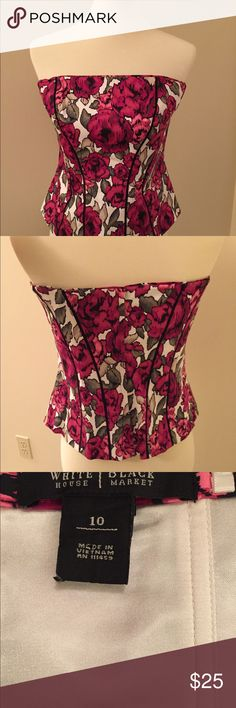 White House Black Market Floral Corset Top Beautiful strapless top!  Feels silky inside.  See tags for materials.  No straps.  Really cute with formal black pants or black knee length skirt. White House Black Market Tops