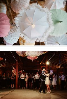 LOVE the hanging parasols for wedding reception decor at this vintage carnival #wedding.