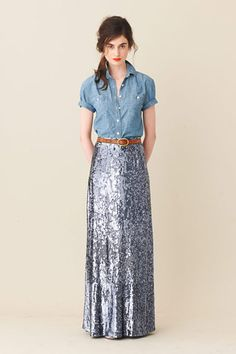 I would actually like to be buried in this. Chambray shirt, rolled sleeves, leather belt, sequin maxi skirt.