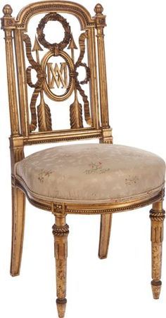 Furniture : French, A Louis XVI-Style Marie Antoinette Parcel Giltwood…