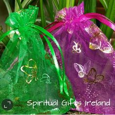 Butterfly Organza Bag.  Butterfly organza drawstring gift bag. Perfect for small gift items, jewellery or crystals. Assorted colours.  Colours vary. Price is for a single bag. Bag size: 120mm x 90mm Shop now: www.spiritualgiftsireland.com Follow us on www.facebook.com/spiritualgiftsireland www.instagram.com/spiritualgiftsireland www.etsy.com/shop/spiritualgiftireland