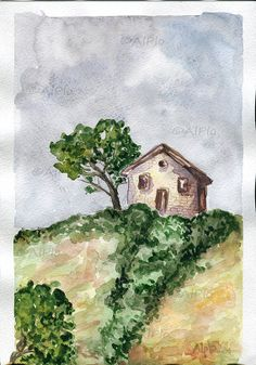 Original Watercolor Painting Paysage Landscape Scenery By AlPlo 3000