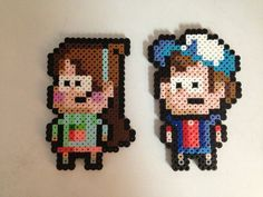 Dipper and Mable from Gravity Falls, perler beads, hama beads, bead sprites, nabbi fuse melty beads
